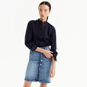 J Crew Button-front Denim Skirt Sz 25